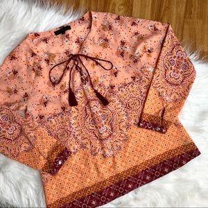 ✨Anthro NWOT Sanctuary orange pattern blouse S